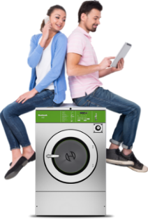 Couple sitting on washer